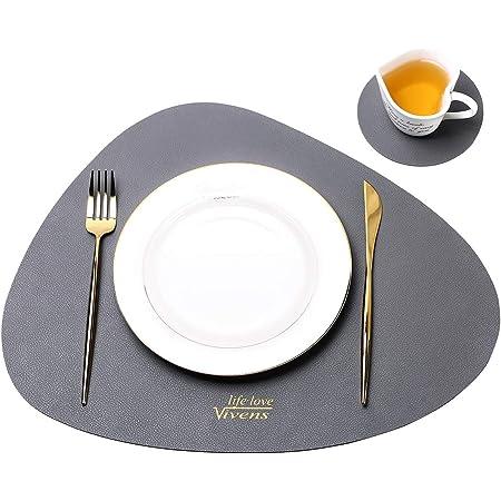VIVENS Set de Table 43 * 34 CM, Sets de Table et sous-Verres en Cuir PU Ensemble de 2, Set de Table antidérapant résistant Tapis de Table colorés lavables imperméables (Gris)