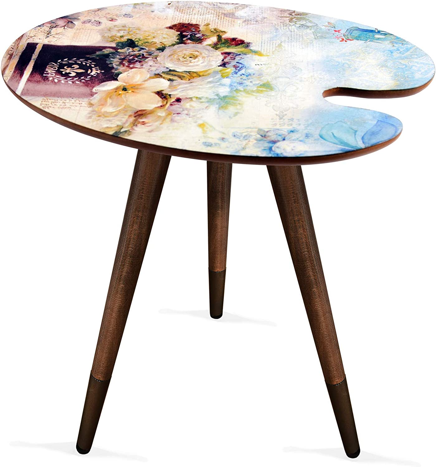 Paint Print Wooden Design Vintage,Retro, Mid-Century Modern Design Wooden Coffee Table, Cocktail Table for Living Room, Bedroom or Home Office
