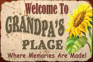 Pet Project Novelty Signs Welcome to Grandpa's Place Where Memories are Made - 9 inch by 6 inch MDF Composite Wood Novelty Sign Ships from Ontario, Canada. Comes with a Cord Attached.