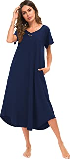 YOZLY Nightgown Womens Loungewear Cotton Knit Short Sleeve Sleepwear Long Nightshirt with Pockets S-XXL