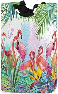 CaTaKu Panier à linge tropical en forme de flamants roses tropicaux, grande boîte de rangement imperméable facile à transp...