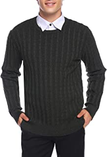 Aibrou Men's Long Sleeve Cable Crewneck Sweater Knit Pullover