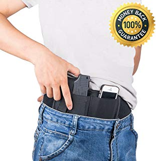 Belly Band Holster for Concealed Carry,Neoprene Waist Band Handgun Carrying System,Fits Gun Smith and Wesson Bodyguard,Glock 19,17,42,43, P238,Ruger LCP,and Similar Sized Guns For Men and Women Black