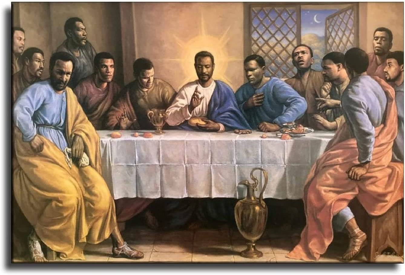 preeminent African American The Last Supper Jesus Christ Canvas Art Poster and Wall Art Picture Print Modern Family Bedroom Decor Posters 08×12inch(20×30cm)
