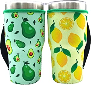 Reusable Iced Coffee Cup Sleeve Neoprene Insulated Sleeves Cup Cover Holder Idea for 30oz-32oz Tumbler Cup,Cold Hot Beverages (Only Cup Sleeves)(Avocado+Lemon(2 Pack))