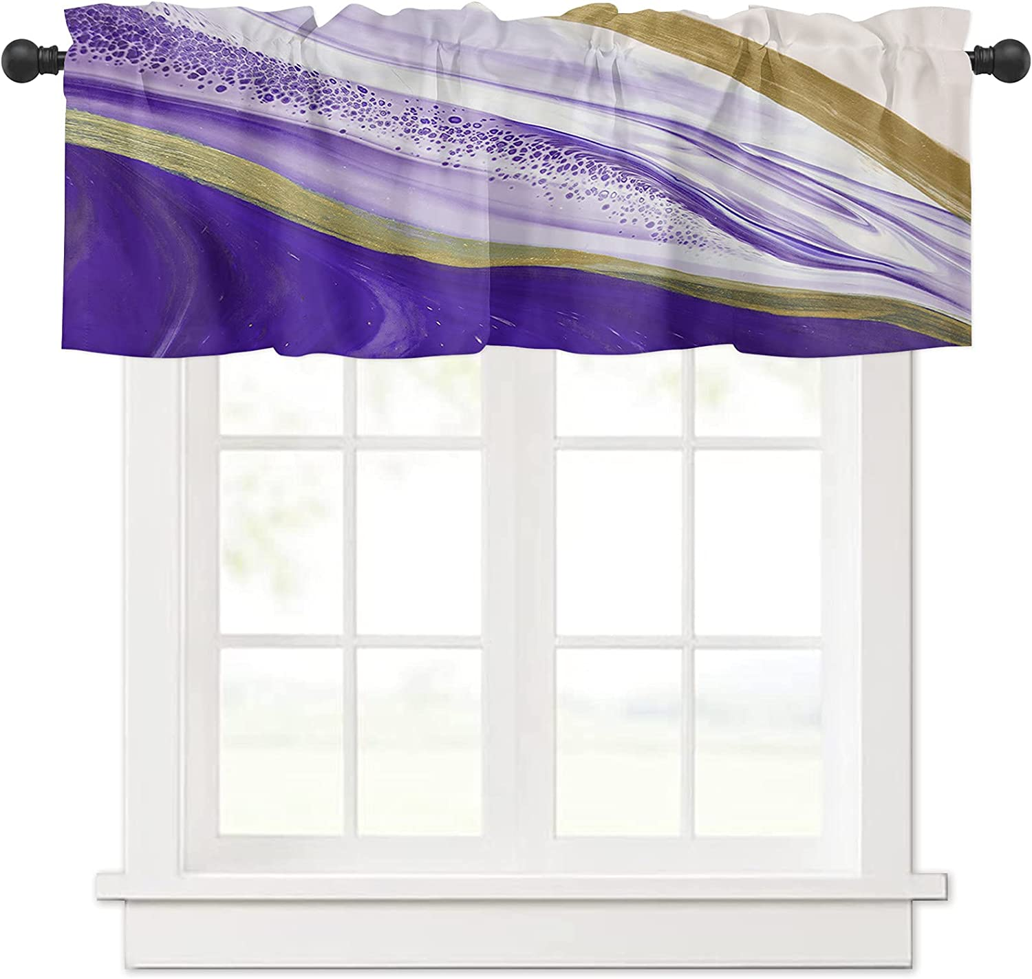 Watercolor Ombre Purple Marble Floral Curtain Outstanding Excellence Splash Artwork Val