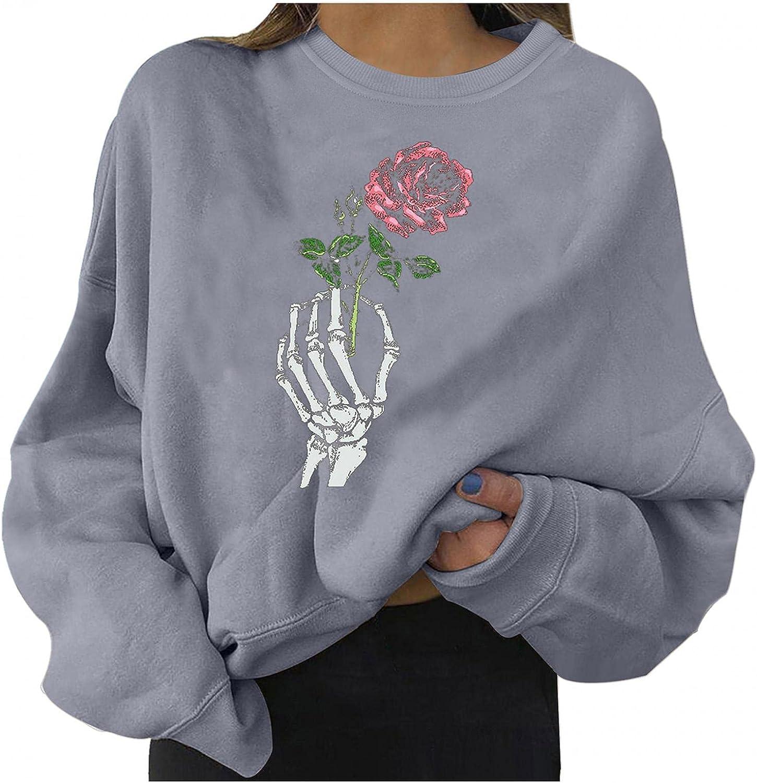 Halloween Women Sweatshirts Cute Pumpkin Ghost Black Cat Bat Print Casual Sweaters Long Sleeve Crewneck Pullover Sweaters
