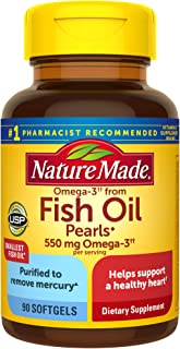 Nature Made Fish Oil Pearls 550 mg, 90 Softgels, Fish Oil Omega 3 Supplement For Heart Health