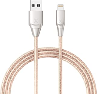 Xcentz iPhone Charger 6ft, Apple MFi Certified Lightning Cable iPhone Charger Cable Metal Connector, Durable Braided Nylon High-Speed Charging Cord for iPhone X/XS Max/XR/8 Plus/7/6/5/SE, iPad, Gold