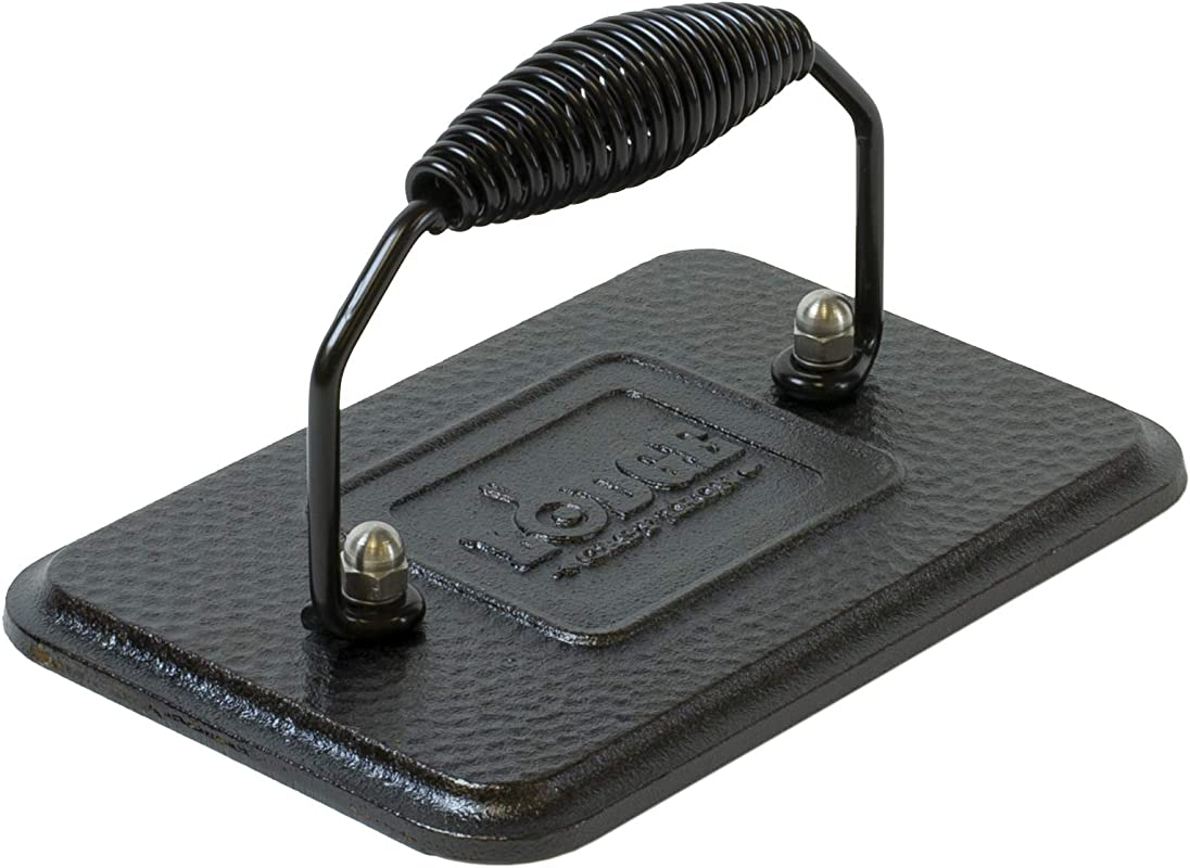 Lodge Rectangular Cast Iron Grill Press 6 75 X 4 5 Cast Iron Grill Press With Cool Grip Spiral Handle