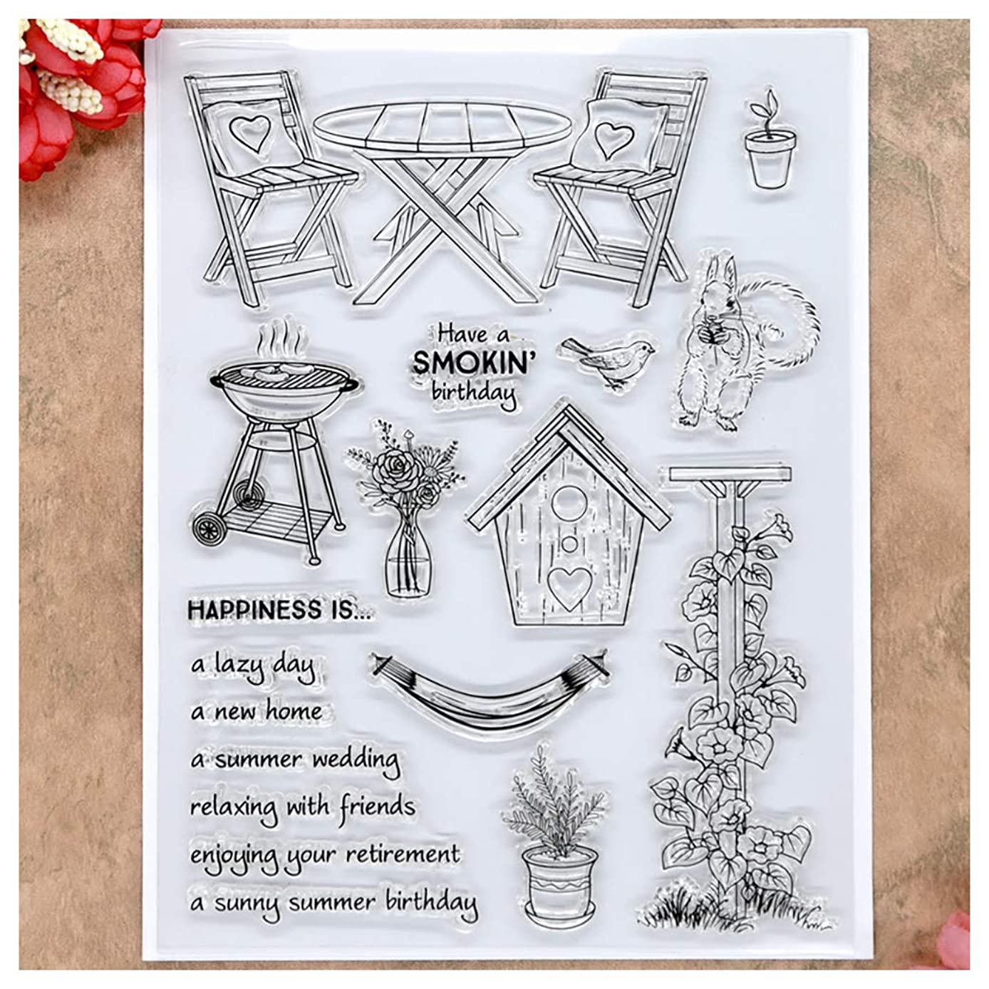 Kwan Crafts Birthday Garden Wedding Clear Stamps for Card Making Decoration and DIY Scrapbooking