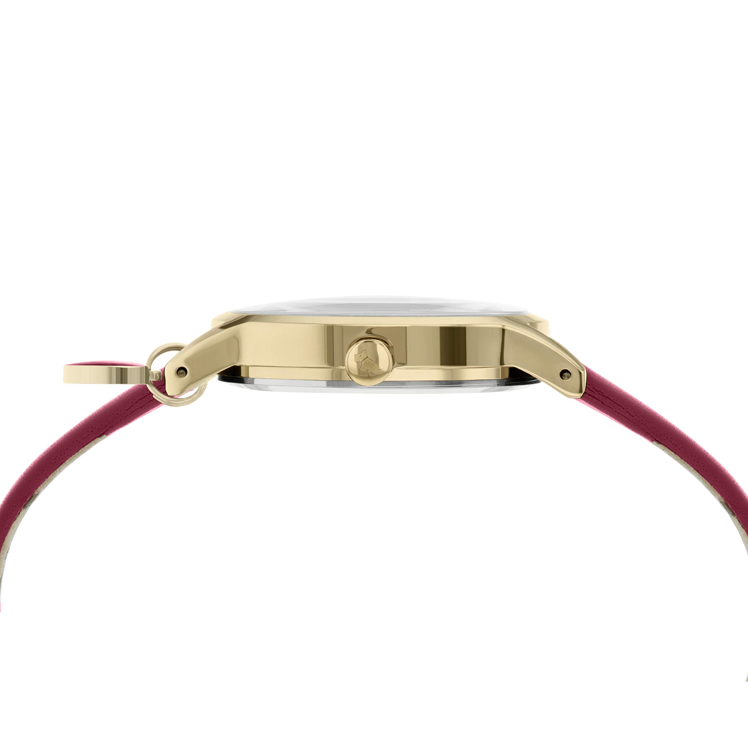 Heart Dial Ladies Claret Leather Strap Heart Charm Watch RY2920A
