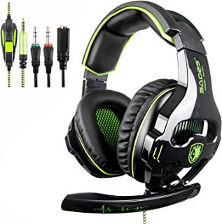 SADES SA810 Gaming Headset Headphone 3.5mm Over-ear with Mic Volume Control for PC/XboxOne/PS4 White and Blue