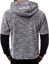 Sunnywill Sweat-Shirt à Manches Longues à Capuche pour Hommes Casual Patchwork Sweat-Shirt Slim Outwear Manteau Tops Bleu, Gris, Gris foncé