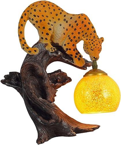 FJH American Retro Applique Créative Personnalité Restaurant Bar Art Résine Leopard Sculpture Décoration Lumière