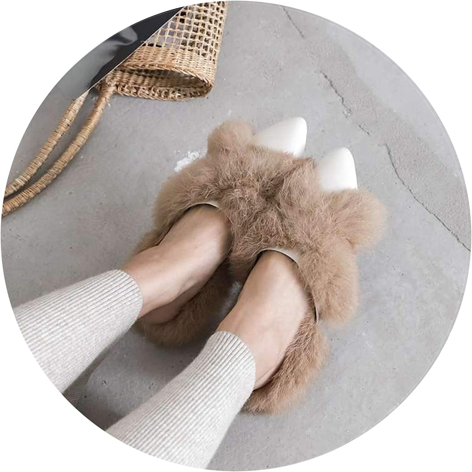 Dreamedge Slippers Sweet Pretty Girls Pointed tie Low Heels Slip on Mules Fur Decoration Cow Leather Simple shoes