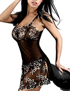 Junshan Women's Underwear Sexy Lace Embroidery Perspective Strap Nightgown S-4XL