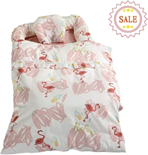 Brandream Baby Lounger Double-Sided Baby nest Portable Crib Bed Snuggle Nest Flamingo Soft Organic Cotton and Breathable Portable Crib for Baby/Newborn