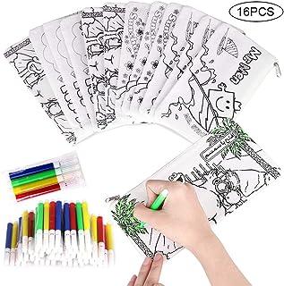 Faburo 16 Piezas Kit de Estuches para Colorear y Rotuladores de Colores, Incluye 16 Caja de Lápiz para Colorear y Mini Rotuladores de Tiza para Niños, Colegios, Regalos y Bolsas de Cumpleaños
