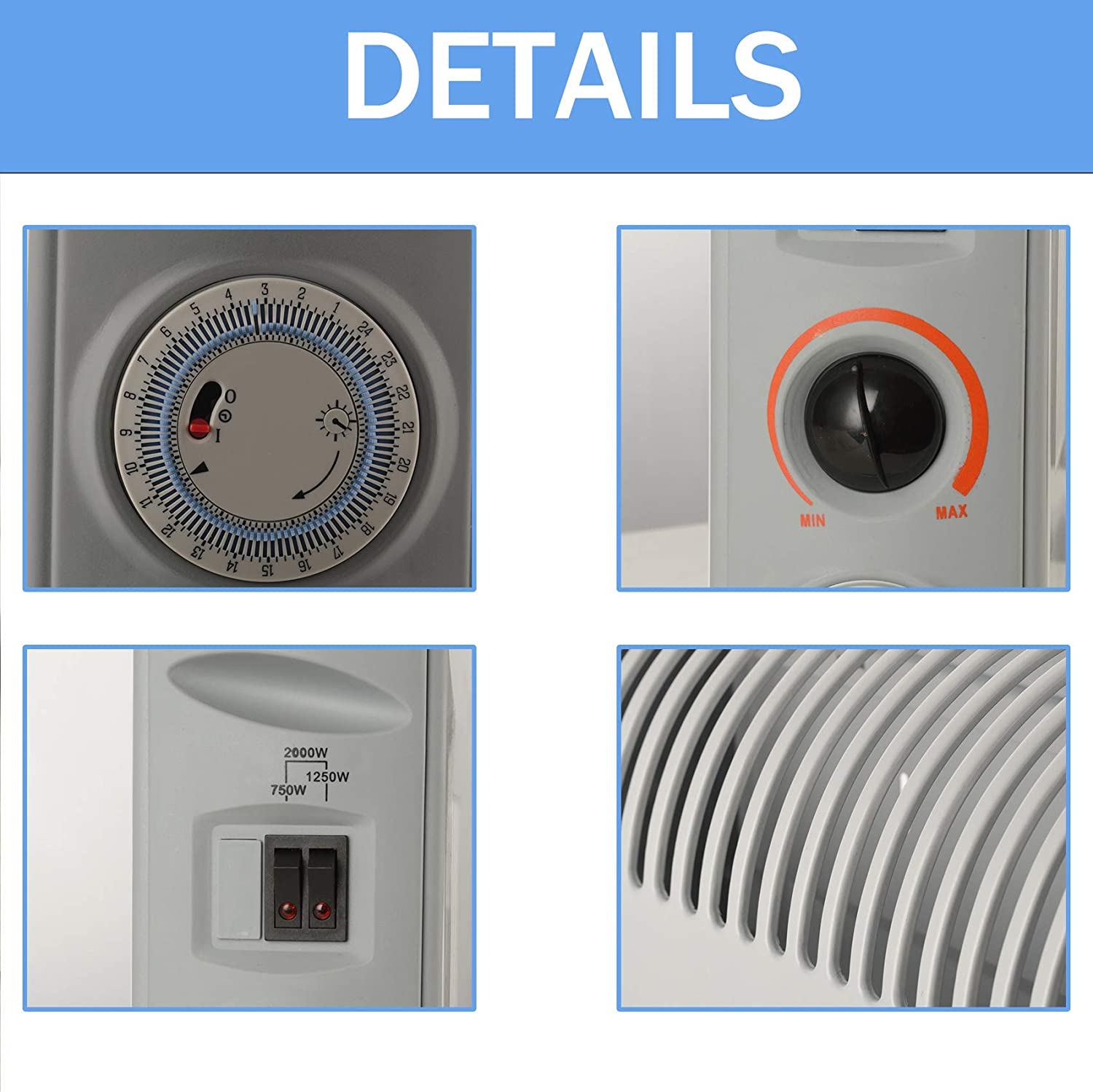 Wall Mounted Safety Electric Heater DONYER POWER Portable Convective Indoor Space Heater Low Noise 750W // 1250W // 2000W Thermostat White