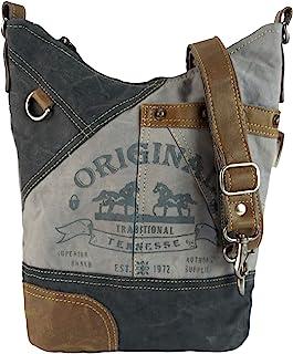 Sunsa Damen Tasche Umhängetasche, Handtasche aus Canvas & Leder. Nachhaltige Produkte, Groß Vintage Stoff Shoulder bag, Sc...