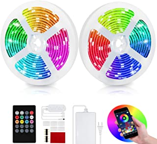 Bliifuu LED Light Strips Bluetooth Control, 16.4ft Tape Lights Color Changing with 20-Key Remote SMD5050 Bright RGB Strip Lights for Home Lighting Kitchen Bed Porch Desk Parties Bars(2-Pack)