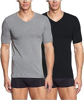 BestBuy-Shop Pack de 2   4 unidades de camisetas interiores de manga corta para hombre con cuello en V.
