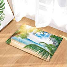 Vacation Bath Rugs for Bathroom, Tropical Beach with Palms Tree with Sunshine, Non-Slip Doormat Floor Entryways Indoor Fro...