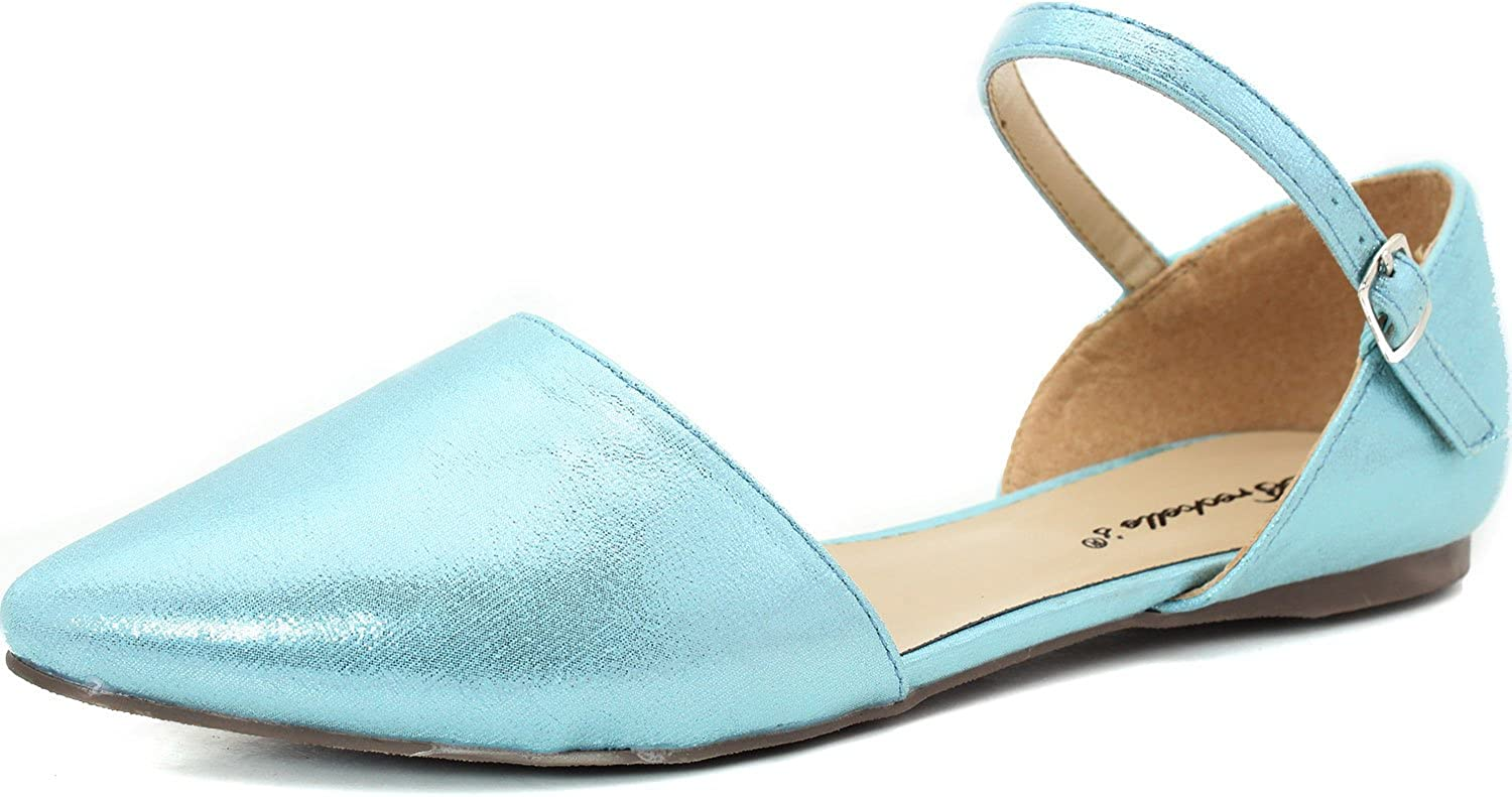 Breckelles Women's Pointy Toe D'Orsay Ballet Flat Ankle Strap color