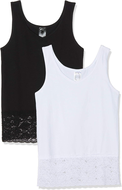 Ulla Popken Women's Plus Size 2 Pack of Lace Hem Knit Tanks 719138