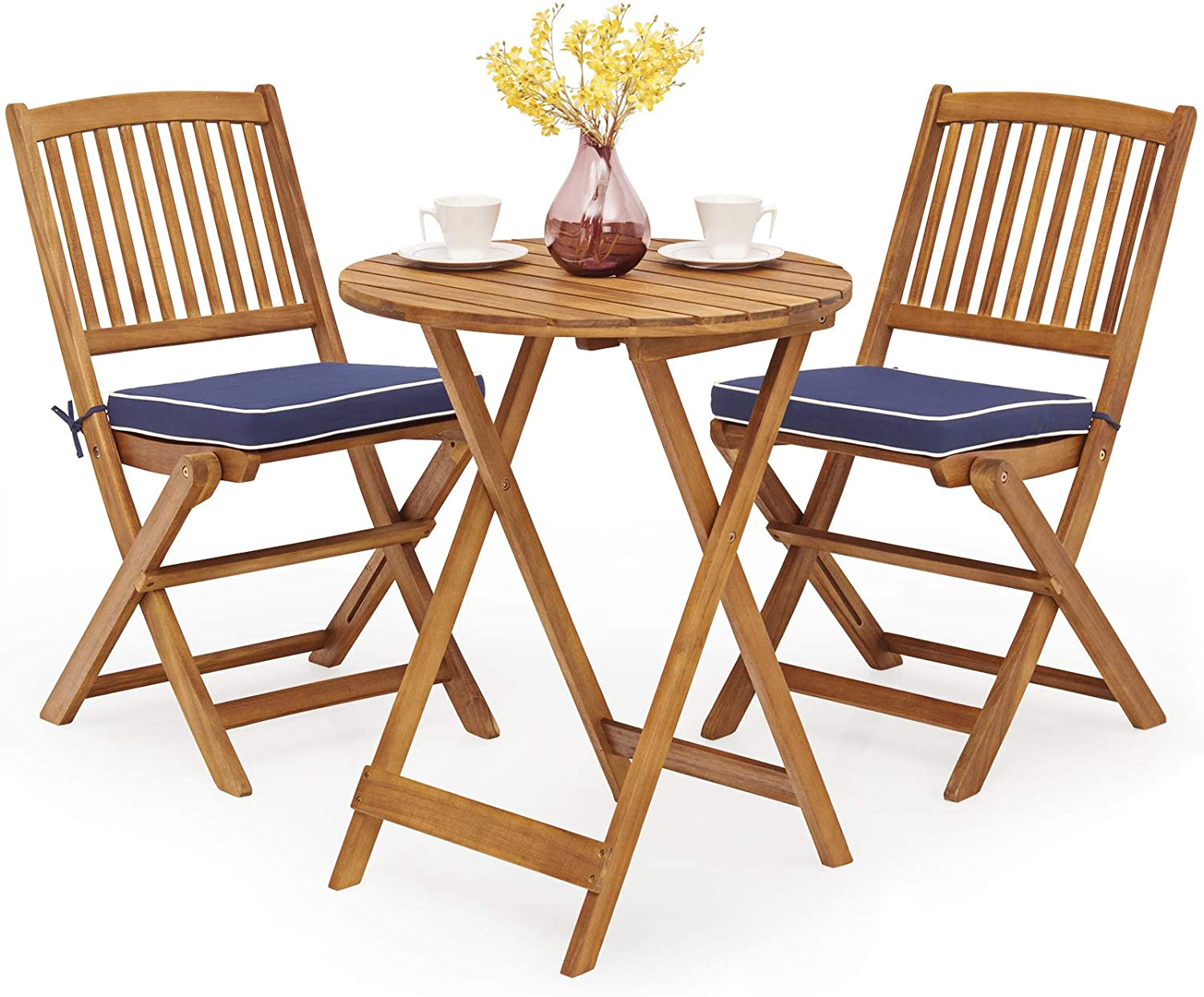 Tangkula 3 PCS Fixed price for sale Patio Max 87% OFF Folding Bistro Outdoor Acacia Wood Cha Set