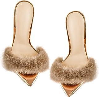 Women's Fur Fluffy Mules High Heels