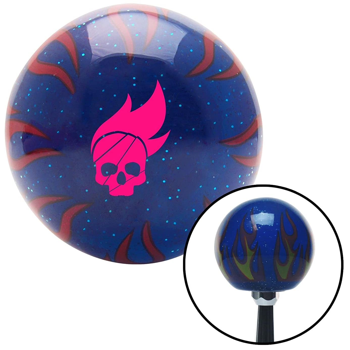 American Shifter 247352 Blue Flame Metal Flake Shift Knob with M16 x 1.5 Insert (Pink Skull Flame)