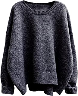 futurino Women's Crew Neck Solid Long Drop Sleeves Loose Knit Pullover Sweaters - Grey - One Size