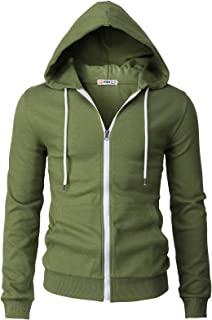 H2H Mens Casual Zip up Hoodie Jacket Double Cotton Lightweight Hooded Various Designed