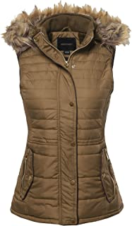 Awesome21 Women's Casual Solid Drawstring Waist Anorak Vest with Detached Hoodie