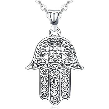 "X Large Hamsa Hand Necklace 30"" Hand of Fatima Spiritual Buddha Evil Eye Pendant"