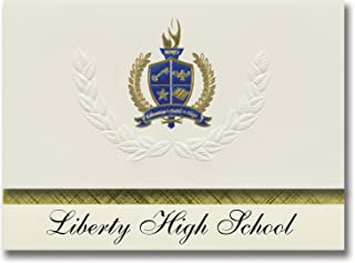 Signature Announcements Liberty High School (Frisco, TX) Graduation Announcements, Presidential style, Elite package of 25 with Gold & Blue Metallic Foil seal
