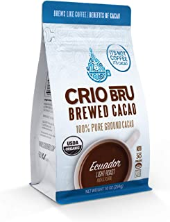Sponsored Ad - Crio Bru Brewed Cacao: Ecuador Light Roast (Coco River) 284g (10oz) Bag | 100% Pure Ground Cacao | Great Su...