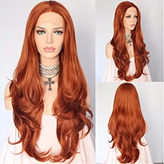 Sapphirewigs Tangerine Orange Natural Wavy Beauty Blogger Daily Makeup Wedding Hair Party 24'' Synthetic Lace Front Wigs