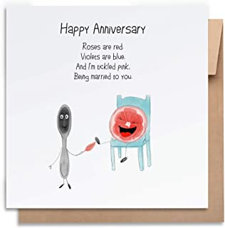 Tickled Pink -Anniversary Card with Envelope, Funny Anniversary Card Humorous Anniversary Card Anniversary Card For Him An...