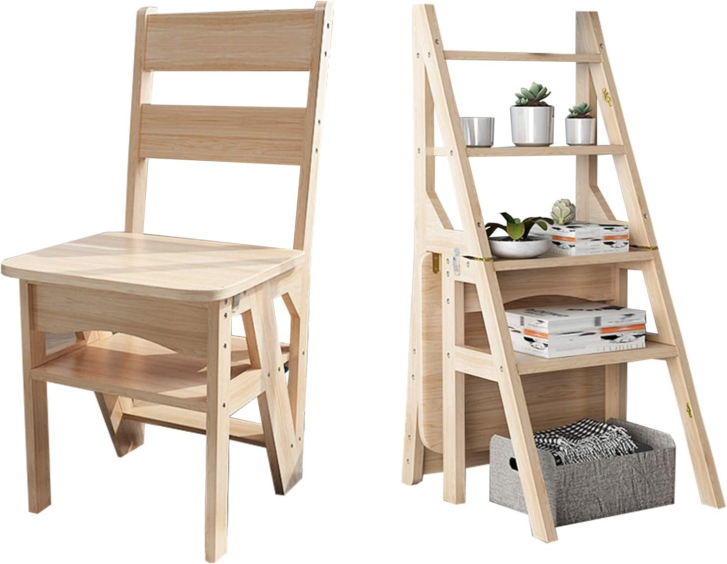 YJX Wooden Folding Max 52% OFF Ladder Stool Rack Portable National products Flower Bench Shoe