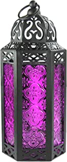 Vela Lanterns Moroccan Style Candle Lantern, Medium, Purple Glass