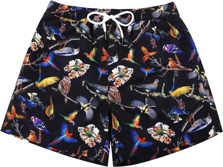 WUAMBO Mens Swimwear Flamingo Boardshort,Many and Various Prints Shorts,Swim Trunks with Mesh Lining and Pockets