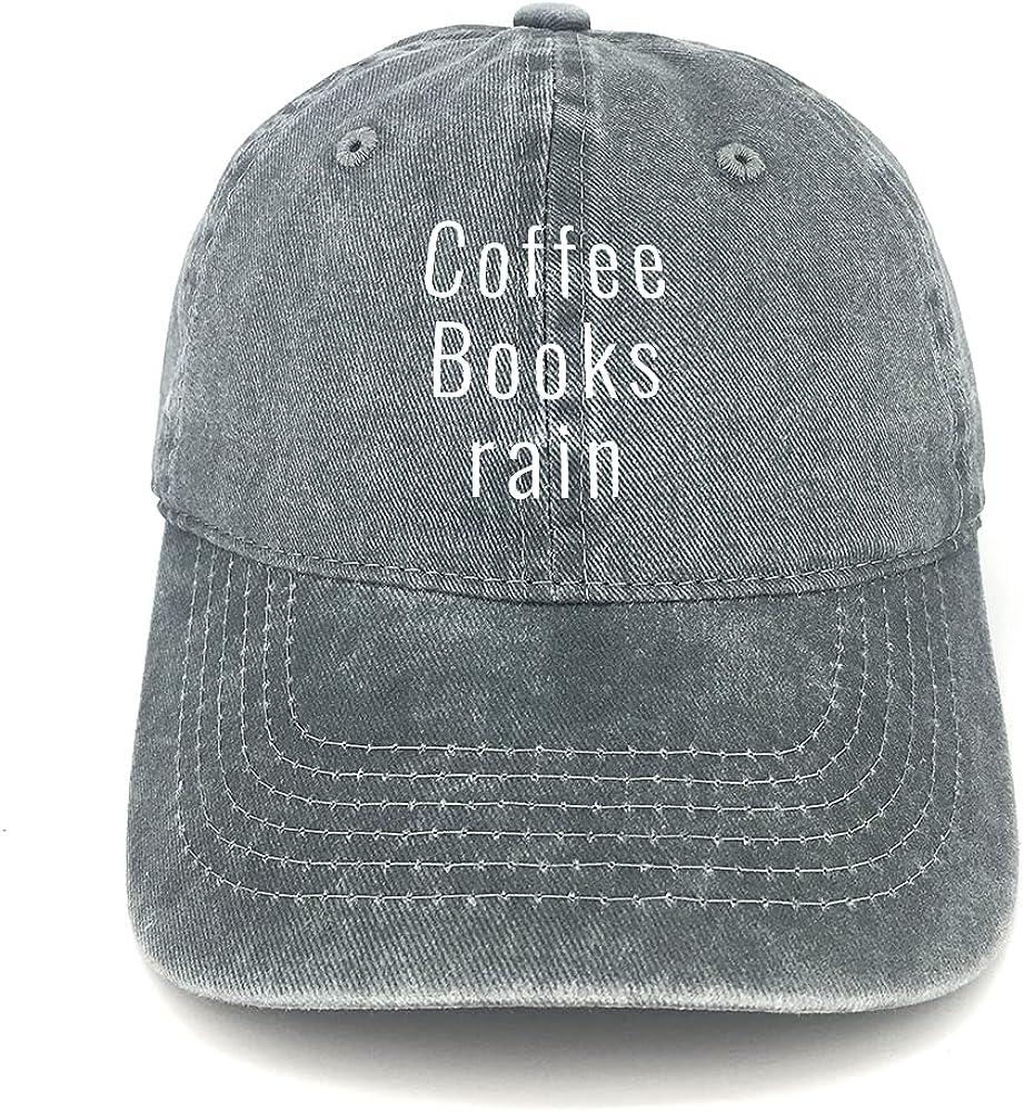 Coffee Books rain Unisex Baseball Cap Washed Denim Adjustable Dad Hat