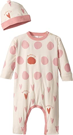Hearts and Dots Long Sleeve One-Piece with Separate Hat (Infant)