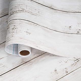 壁紙シール beehome 壁紙 木目 シート はがせる リメイクシート タイルシール のり付き カッティングシート 約10mX45cm幅 アンテイークホワイト…