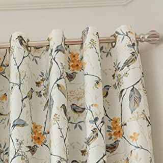 VOGOL Blackout Grommet Curtains Birds and Flower Print Window Panels for Bedroom Living Room, One Panel, 52x63, Gray