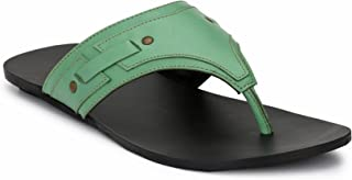 FORESTHILL Men's Green Leather Outdoor Slippers and Floaters