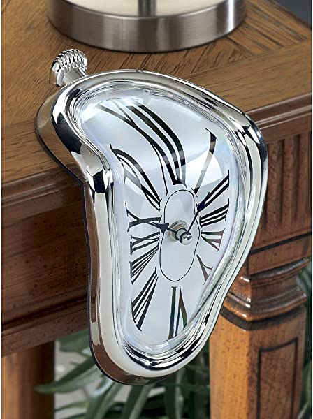 Novelty Creative Modern Melting Clock Melted Illusion Warp Clock Sits On Shelf Funny Creative Home Room Decor Silver